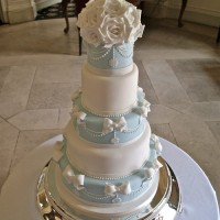baby blue and white five tier cake with sugar icing detailing