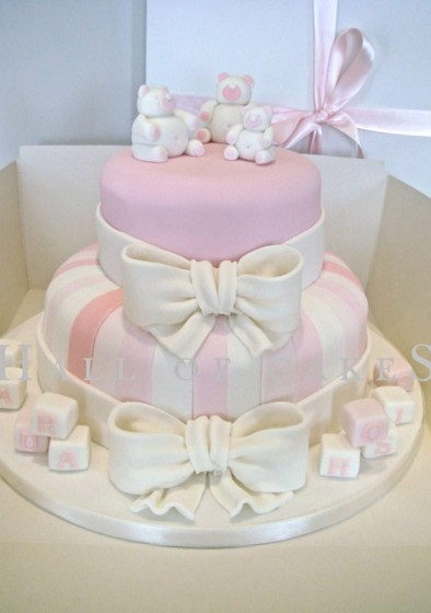 Pink, Cream Teddies and Bows Cake